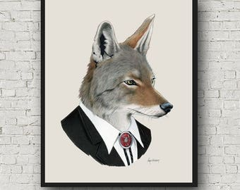 Oversized Coyote print - Ryan Berkley Illustration - 16x20 or 20x28 - Modern Decor - Modern Nursery - Modern Kids
