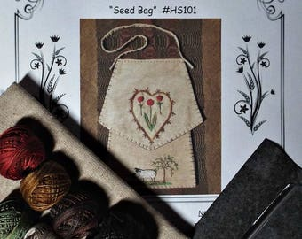 Kit Hand Embroidered Seed Bag Sheep Willow Tree Heart Flowers