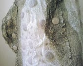 Grey and Off-White Textured Nuno Felted Shawl