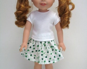 """Fits Like Wellie Wisher - 14 Inch Doll Clothes - St. Patricks Day - Green - 14"""" Doll Skirt - 14.5"""" Doll Top - American Doll - Girl Doll"""