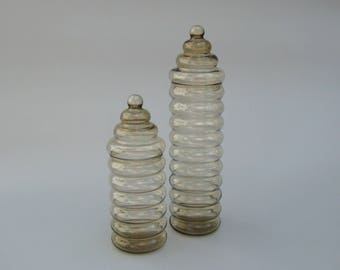 Holmegaard Primula Jars Mid Century Modern Ribbed Glass Jacob Bang Design 14.5 inch and 10 inch Tall Apothecary Storage Jars