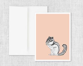 """animal art greeting card, modern greeting card, blank greeting card, greeting card set, chipmunk, drawing, ink drawing, nature - """"Chipmunk"""""""