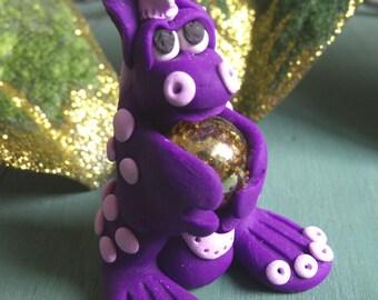 Dragon figurine purple polymer clay fantasy