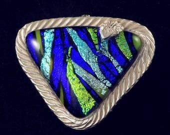 Vibrant dichroic glass cabochon and fine silver pendant
