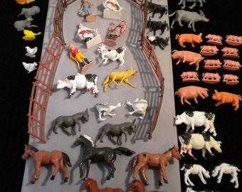 Big bunch of vintage farm animals, fence, farmers