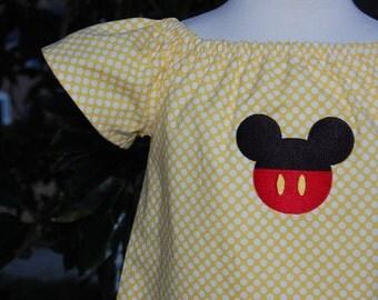 Girls Dress, Girls Disney World Dress, Girls Peasant  Dress, Girls Mickey Mouse Dress,  Baby Girl Dress, Mouse Ears, Girls clothing