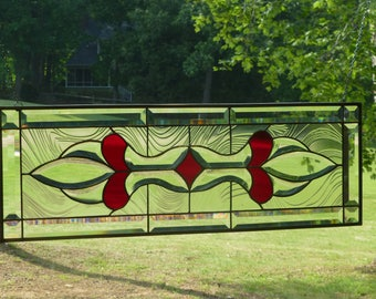 Red and Clear Stained Glass & Beveled Window Transom-Handmade by me!