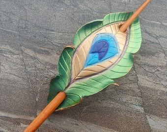Leather Hair Stick - Peacock Feather Barrette, Hair Slide Or Shawl Pin In Shimmering Green - Medium Spacing - Bohemain Style, Gift for Her