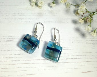 Handmade Sterling Silver Fused Glass Earrings in Gift Box - blue and turquoise  - FREE UK SHIPPING