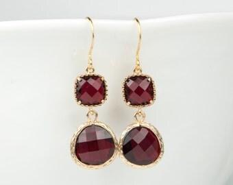 Long Garnet Gold Earrings, January Birthstone Gold Earrings, January Birthstone Jewelry, Bridesmaid Earrings, Wedding Jewelry