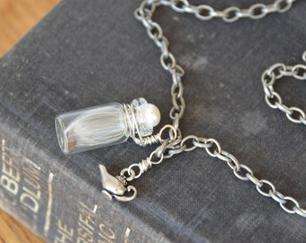 Make a Wish charm necklace. Milkweed seed in tiny bottle and genie lamp charm on long necklace