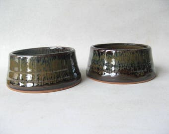 Ceramic Pet Bowls, Small Dog Bowls, Set of Pottery Dog Bowls,