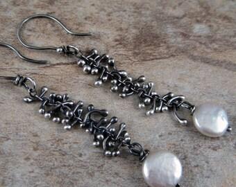 Unique earrings, coin pearl earrings, organic earrings, silver drop earrings, handcrafted, black silver pearl earring, long dangle earrings