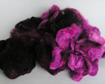 Mawata Silk Hankies Hand Painted VERY BERRY Knitpack 42 grams Silk Hanky Knit Spin Felt Fusion Crafts Hankie Nuno Wet Felting Mulberry NEW