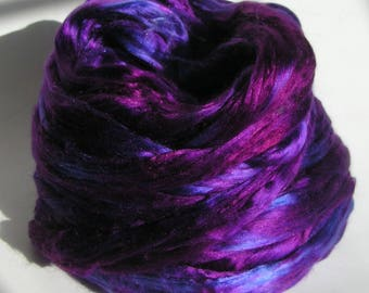 Silk Top Roving Sliver Fiber cultivated Mulberry PURPLE PASSION Phat Fiber Luxurious Supreme Quality Hand Painted for Handspinning 2 ounces