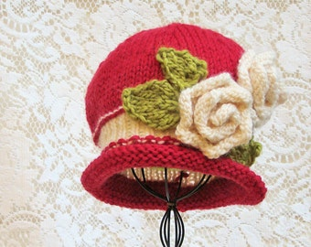 Toddler Girl Knit Hat Red Mint or Gray Wool  Leaves & Roses, Baby Girl Hat