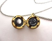 Fly Me to the Moon Necklace, Oil-Painted Locket Miniature Made by Hand