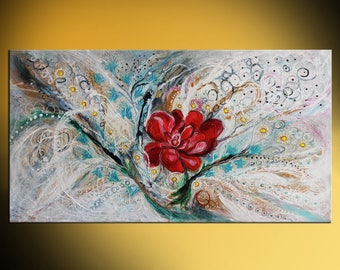 """63"""" oriental abstract painting on canvas """"Power of Peony"""" marine yellow red color bright background thick paint huge wall hanging"""