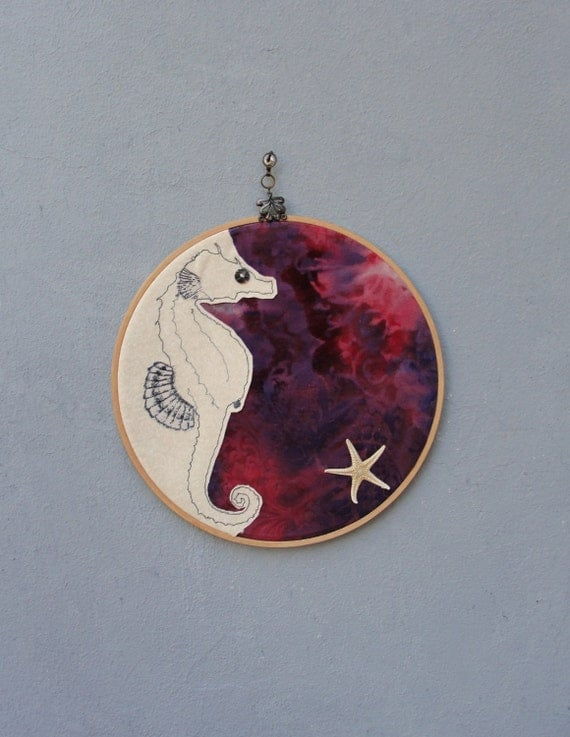 Seahorse and Starfish Embroidered Hoop Wall Hanging, Nautical Home Decor