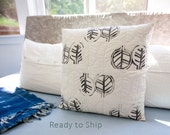 Handprinted Quilted Modern Pillow Neutral Decor 17x17 Decorative Pillow Leaf Print Toss Pillow Gift for Her or Him Graphic Leaf Print