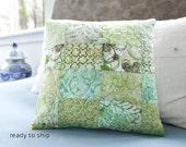 Modern Patchwork Quilted Pillow 12x12 Green Decorative Pillow Case Quilt Cushion Sham Small Quilt Green Modern Decor Handmade Pillow