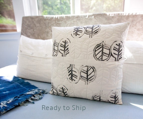 Handprinted Quilted Modern Pillow Neutral Decor 17x17