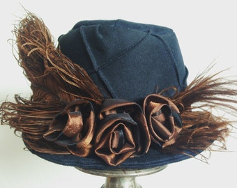 Black Mini Top Hat Steampunk Mini Hat Edwardian Neo Victorian Fascinator