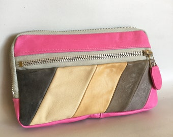 Leather wallet in Pink/grey/cream