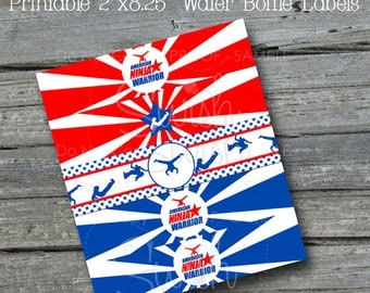 Ninja Water Bottle Labels | Water Bottle Wraps | Red White Blue | Gymnastics Party | Digital Download | INSTANT DOWNLOAD