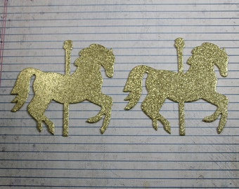 6 Carousel HORSES gold glitter both sides die cuts 4 inches  x 3 3/8 inches