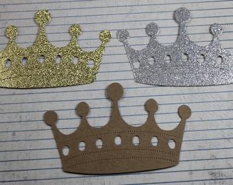 "3 Fancy Large Bare chipboard or glitter die cuts Crown 4 1/2' w x 2 7/8"" tall"