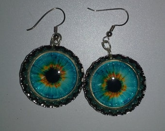 Post-Apocalyptic Bottlecap Monster Eye Earrings in Turquoise