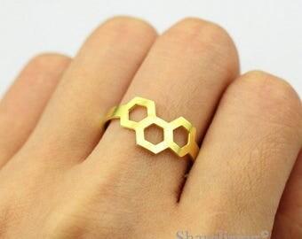 2pcs Raw Brass Honeycomb Ring, Adjustable Hexagonal Brass Rings - TR029