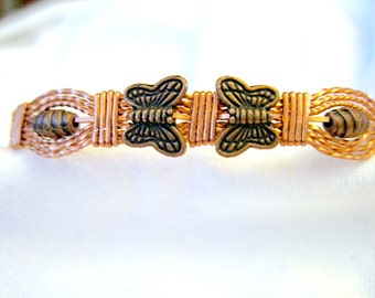 """All Copper Metal with Butterflies Wire Wrapped Bracelet 7-1/2""""to 8"""