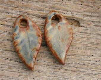 LEAF PAIR - Handmade Ceramic Leaf Pair - Earring Pair