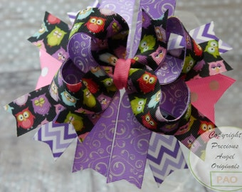 Owl Layered Hair Bow