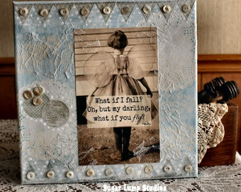 What If I Fall?  10 x 10 inch altered canvas with vintage laces and embellishments