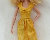 Golden Yellow with gold Print Fashion Doll dress for 1:6 scale dolls