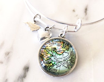 Outer Banks Map Charm Bangle Bracelet - Personalized Map Jewelry - Bangle - North Carolina - OBX - Duck - Corolla - Cape Hatteras