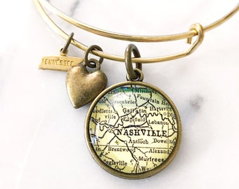 Nashville Map Charm Bangle Bracelet - Personalized Map Jewelry - Bangle - Music City - Visit Tennessee - Grand Ole Opry