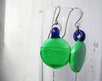 Green and Blue Round Minimalist Glass Earrings