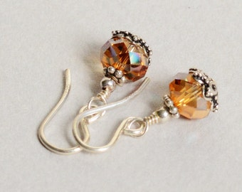 Topaz Crystal Earrings  - Topaz Earrings - November Birthstone - Sterling Silver Earrings