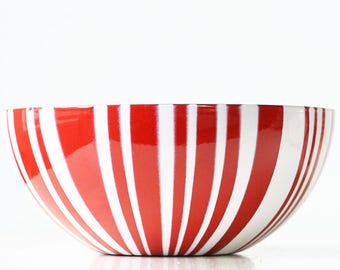 "Vintage Cathrineholm Bowl, Red and White Stripe, 9"" Diameter"