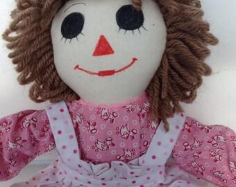 "Raggedy Ann Doll Handmade Brown Hair Pink Dress 15"" Custom orders available"