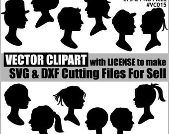 Family head vector eps clipart - silhouette black monogram clip art - instant download - man woman graphics - commercial use