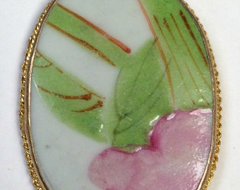 ANTIQUE Chinese PORCELAIN Shard PENDANT Qing Dynasty Pink Flower pt297
