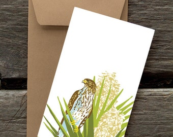 Cooper's Hawk in Flowering Yucca: Pack of 8 eco-friendly flat cards