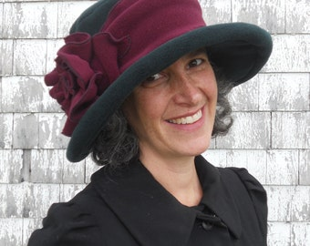 Edwardian Suffragette Hat - Wide Brim Fleece Winter Hat - Forest Green and Burgundy - Margaret