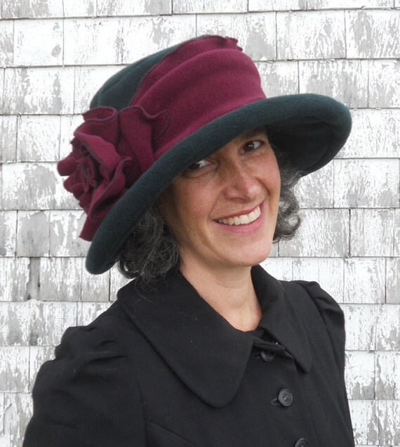 Edwardian Style Hats, Titanic Hats, Derby Hats Edwardian Suffragette Hat - Wide Brim Fleece Winter Hat - Forest Green and Burgundy - Margaret $16.00 AT vintagedancer.com