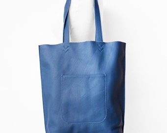 Arrow Tote in Steel Blue  / Leather Tote Bag  / Blue Tote Bag / Leather Handbag / Blue Leather Tote / Blue Leather Handbag / Blue Bag